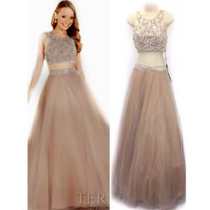 Terani Couture 2 Blush Two Piece Gown Tulle Beaded